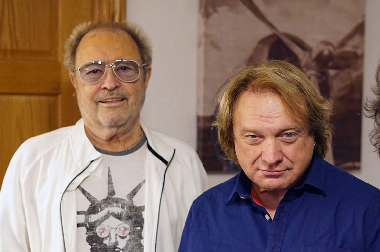 Lou Gramm, center, rejoined Foreigner for a special performance at the Buffalo Chip in South Dakota during the Sturgis motorcycle rally. Flanking him is (on left) fellow co-founder Mick Jones