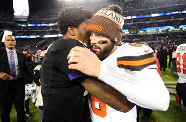 altimore Ravens quarterback Lamar Jackson (8) is congratulated by Cleveland Browns quarterback Baker Mayfield (6) after the game at M&T Bank Stadium.