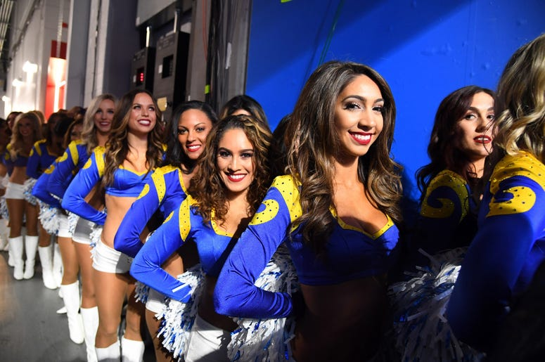 Los Angeles Rams cheerleaders line up before Super Bowl LIII against the New England Patriots at Mercedes-Benz Stadium.