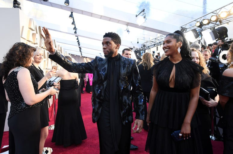 Chadwick Boseman arrives at the 91st Academy Awards at the Dolby Theatre.