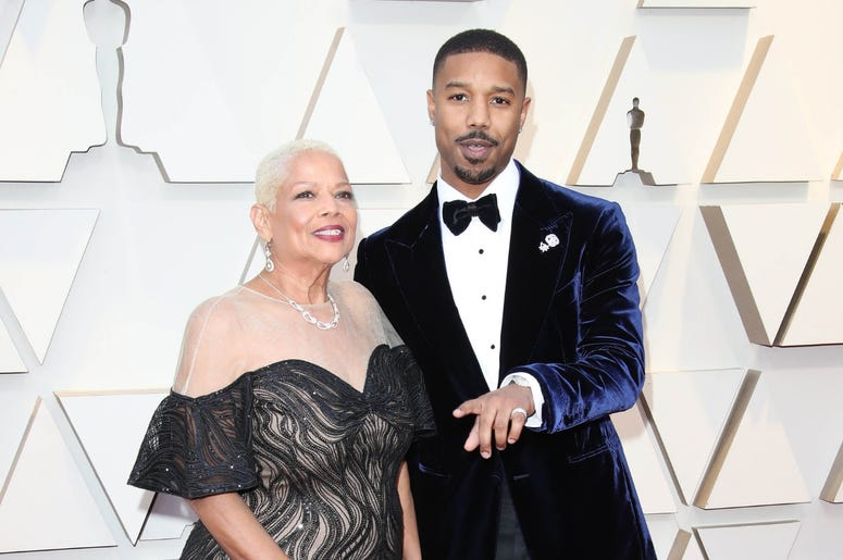 Michael B. Jordan, right, and Donna Jordan arrive at the 91st Academy Awards at the Dolby Theatre