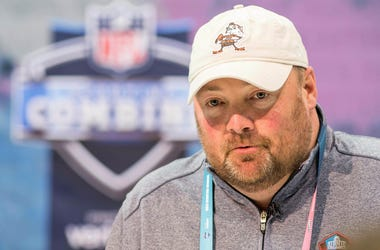 Cleveland Browns head coach Freddie Kitchens speaks to media during the 2019 NFL Combine at Indianapolis Convention Center.