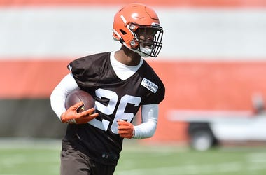 Cleveland Browns cornerback Greedy Williams (26) runs with the ball during organized team activities at the Cleveland Browns training facility.