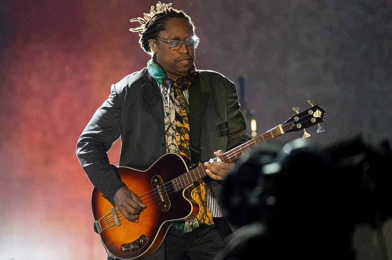 Rolling Stones bassist Darryl Jones performs at Soldier Field in Chicago on Friday