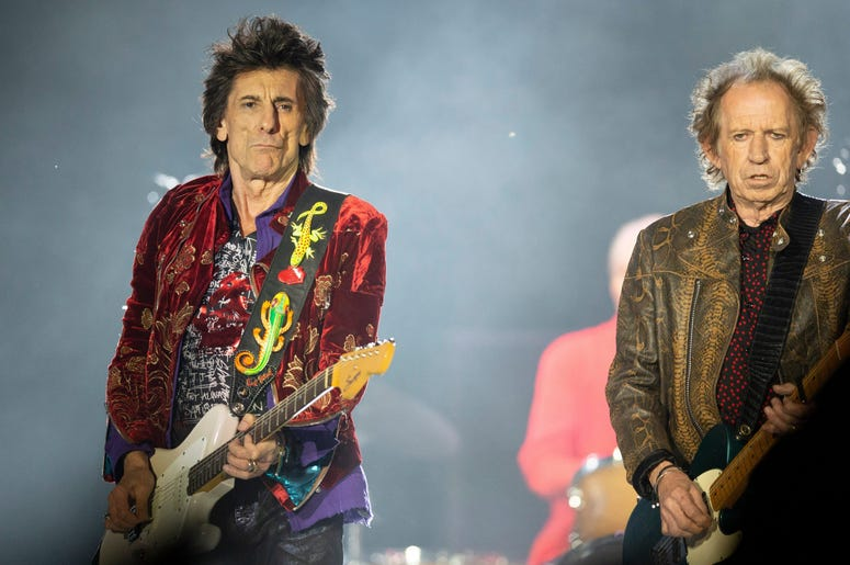 Guitarists Ronnie Wood and Keith Richards of the Rolling Stones perform at Soldier Field in Chicago