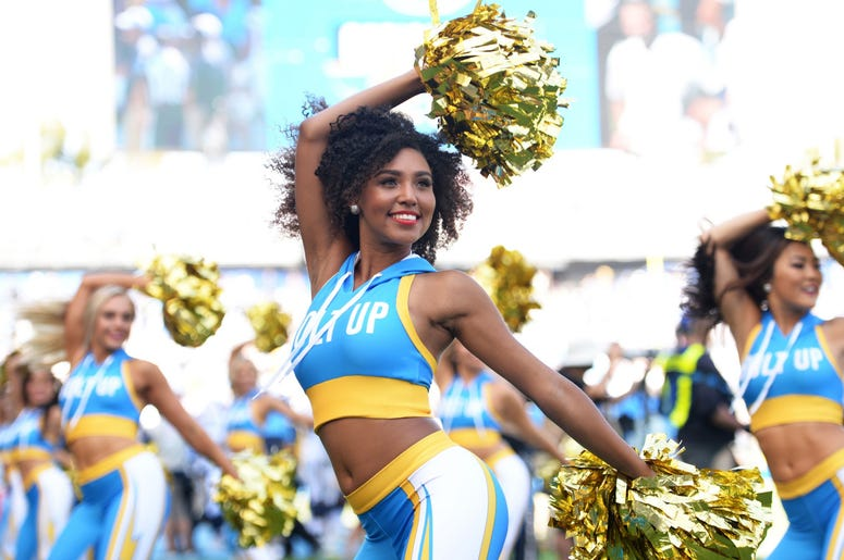 The Los Angeles Chargers cheerleaders cheer during the fourth quarter against the Indianapolis Colts at Dignity Health Sports Park.