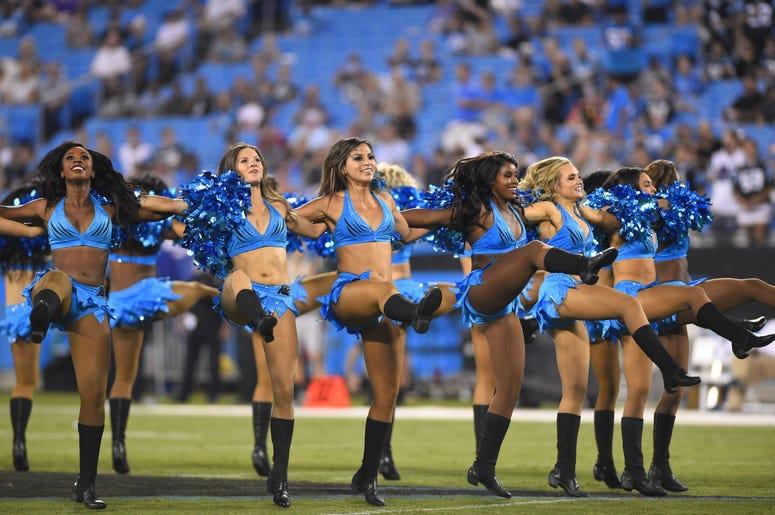 Carolina Panthers cheerleaders perform before the game at Bank of America Stadium.