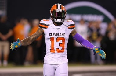Sep 16, 2019; East Rutherford, NJ, USA; Cleveland Browns wide receiver Odell Beckham Jr. (13) takes the field for warmups before a game against the New York Jets at MetLife Stadium. Mandatory Credit: Brad Penner-USA TODAY Sports