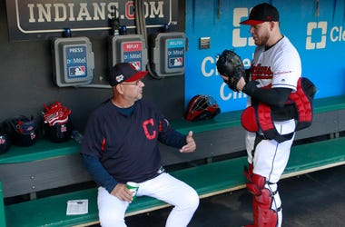 Sep 22, 2019; Cleveland, OH, USA; Cleveland Indians manager Terry Francona (left) talks with catcher Roberto Perez (55) in the dugout before the game against the Philadelphia Phillies at Progressive Field. Mandatory Credit: Charles LeClaire-USA TODAY Spor