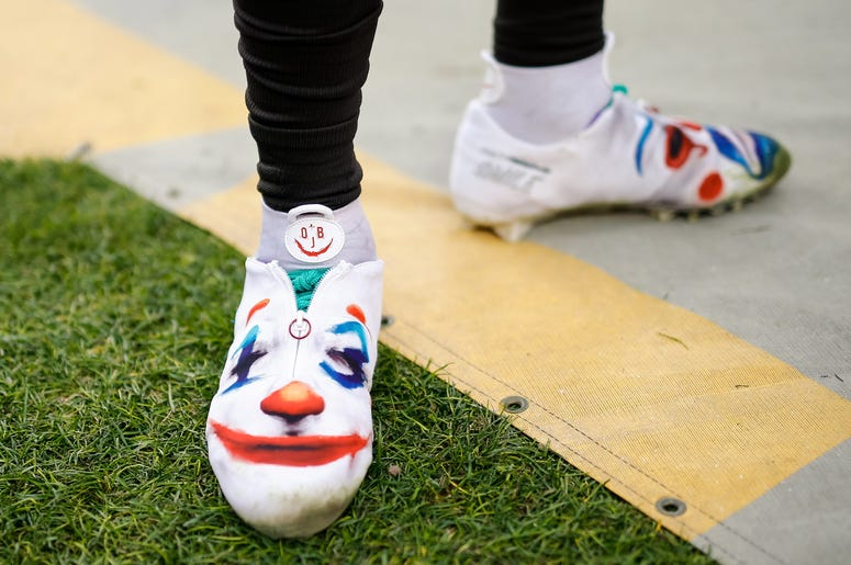 Nov 3, 2019; Denver, CO, USA; A detail view of the shoes worn by Cleveland Browns wide receiver Odell Beckham Jr. (13) in the second quarter against the Denver Broncos at Empower Field at Mile High. Mandatory Credit: Isaiah J. Downing-USA TODAY Sports
