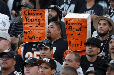 Nov 17, 2019; Oakland, CA, USA; Cincinnati Bengals fans wear Orange bags on their heads in the fourth quarter against the Oakland Raiders at Oakland-Alameda County Coliseum. The Raiders defeated the Bengals 17-10. Mandatory Credit: Kirby Lee-USA TODAY Spo