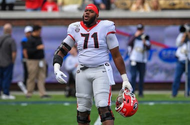 Nov 30, 2019; Atlanta, GA, USA; Georgia Bulldogs offensive lineman Andrew Thomas (71) prior to the game against the Georgia Tech Yellow Jackets at Bobby Dodd Stadium. Mandatory Credit: Dale Zanine-USA TODAY Sports