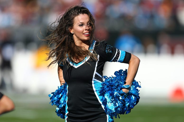 The Carolina Panthers cheerleaders perform during the second quarter against the Washington Redskins at Bank of America Stadium.