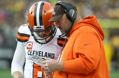 Cleveland Browns quarterback Baker Mayfield (6) and head coach Freddie Kitchens
