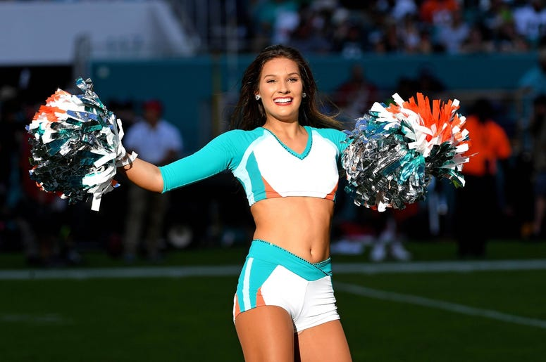 Miami Dolphins cheerleader performs during the second half against the Philadelphia Eagles at Hard Rock Stadium.