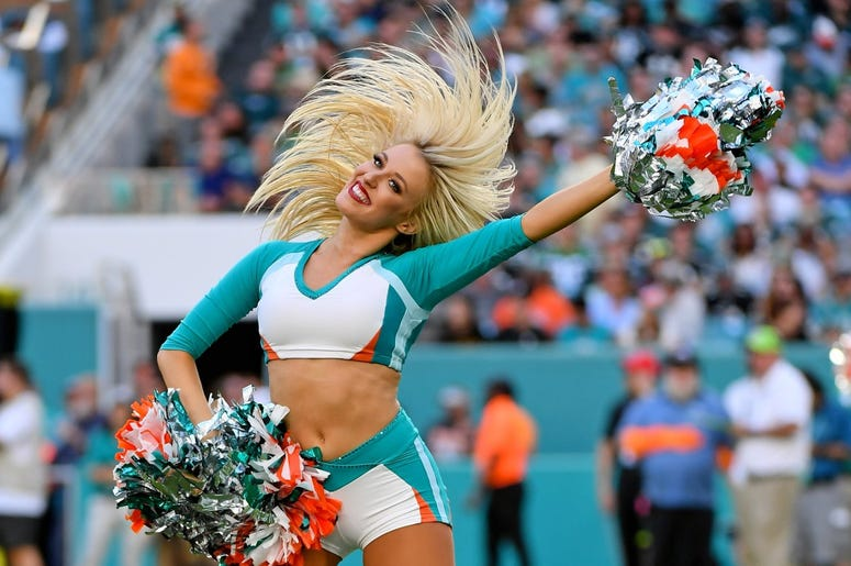 A Miami Dolphins cheerleader performs during the second half between the Miami Dolphins and the Philadelphia Eagles at Hard Rock Stadium.