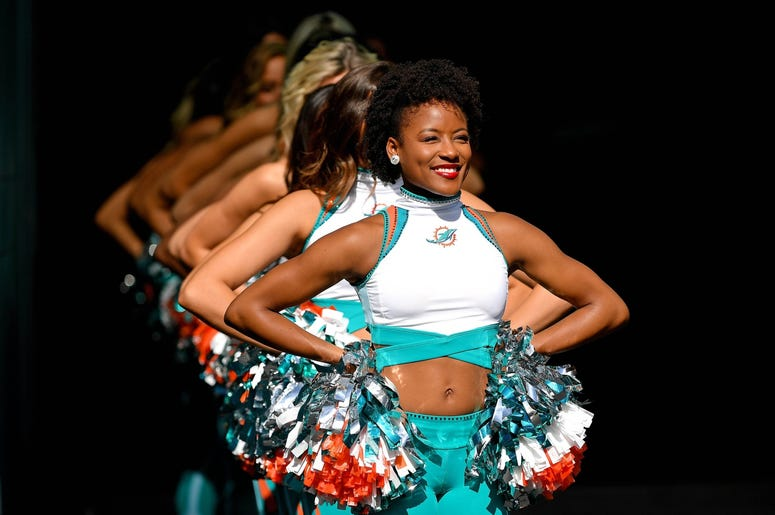 Miami Dolphins cheerleaders line up before a game against the Philadelphia Eagles at Hard Rock Stadium.