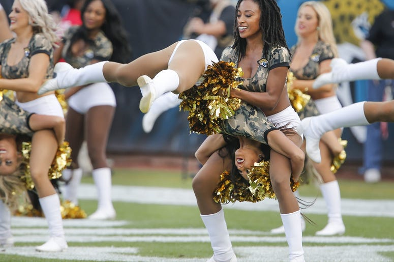 "Members of the Jacksonville Jaguars cheerleaders ""The Roar\"" perform during the second half against the Tampa Bay Buccaneers at TIAA Bank Field."