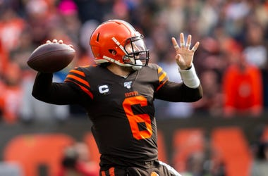 Dec 8, 2019; Cleveland, OH, USA; Cleveland Browns quarterback Baker Mayfield (6) throws the ball against the Cincinnati Bengals during the first quarter at FirstEnergy Stadium. Mandatory Credit: Scott R. Galvin-USA TODAY Sports