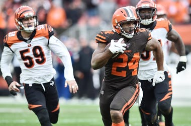 Cleveland Browns running back Nick Chubb (24) runs for a 57-yard gain during the second half against the Cincinnati Bengals at FirstEnergy Stadium.