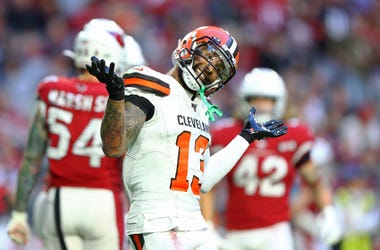 Cleveland Browns wide receiver Odell Beckham Jr. (13) reacts in the second half against the Arizona Cardinals at State Farm Stadium.