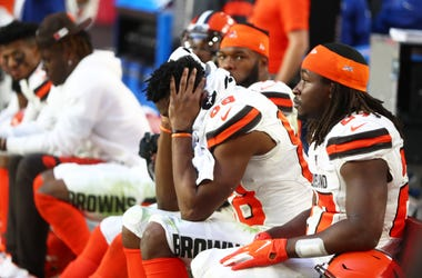 Dec 15, 2019; Glendale, AZ, USA; Cleveland Browns tight end Demetrius Harris (88) reacts on the bench in the closing minutes of the game against the Arizona Cardinals at State Farm Stadium. Mandatory Credit: Mark J. Rebilas-USA TODAY Sports