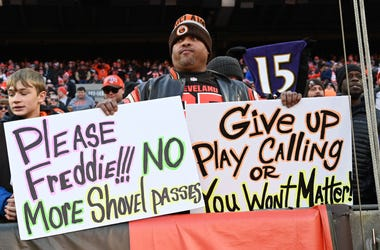 Dec 22, 2019; Cleveland, Ohio, USA; A Cleveland Browns fan holds signs referencing Cleveland Browns head coach Freddie Kitchens during the second half at FirstEnergy Stadium. Mandatory Credit: Ken Blaze-USA TODAY Sports