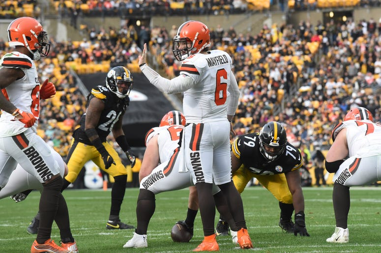 Dec 1, 2019; Pittsburgh, PA, USA; Cleveland Browns quarterback Baker Mayfield (6) call a play against the Pittsburgh Steelers during the second quarter at Heinz Field. Mandatory Credit: Philip G. Pavely-USA TODAY Sports