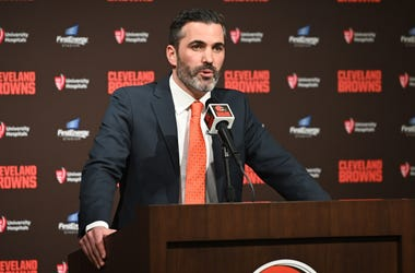 Jan 14, 2020; Cleveland, Ohio, USA; New Cleveland Browns head coach Kevin Stefanski speaks to the media during a press conference at FirstEnergy Stadium. Mandatory Credit: Ken Blaze-USA TODAY Sports