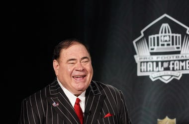 Feb 1, 2020; Miami, Florida, USA; Pro Football Hall of Fame president David Baker announces the class of 2020 inductees during the NFL Honors awards presentation at Adrienne Arsht Center. Mandatory Credit: Kirby Lee-USA TODAY Sports