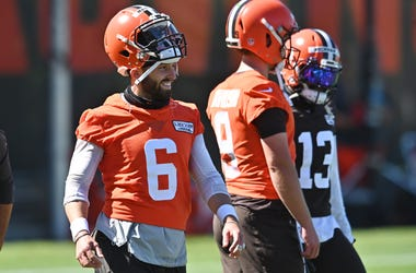 Aug 20, 2020; Berea, Ohio, USA; Cleveland Browns quarterback Baker Mayfield (6) during training camp at the Cleveland Browns training facility. Mandatory Credit: Ken Blaze-USA TODAY Sports