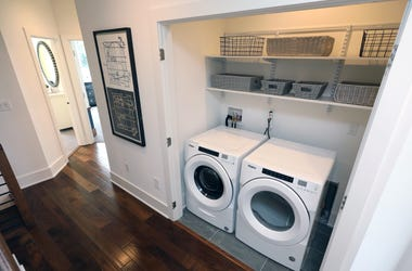 A washer and dryer are pictured in one of the Brownstone Collection by Toll Brothers Townhomes, at the new Edge-on-Hudson development in Sleepy Hollow, Sept. 8, 2020. Edge On Hudson