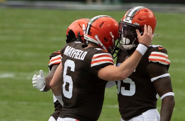 Sep 13, 2020; Baltimore, Maryland, USA; Cleveland Browns quarterback Baker Mayfield (6) celebrates with tight end David Njoku (85) after a first quarter touchdown against the Baltimore Ravens at M&T Bank Stadium. Mandatory Credit: Tommy Gilligan-USA TODAY