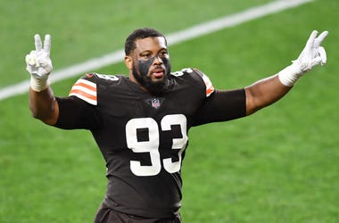 Sep 17, 2020; Cleveland, Ohio, USA; Cleveland Browns middle linebacker B.J. Goodson (93) celebrates after the Browns beat the Cincinnati Bengals at FirstEnergy Stadium. Mandatory Credit: Ken Blaze-USA TODAY Sports