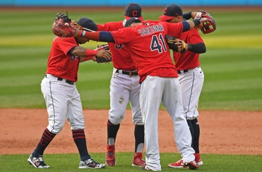 Sep 27, 2020; Cleveland, Ohio, USA; Cleveland Indians third baseman Jose Ramirez (11) short stop Francisco Lindor (12) second basemen Cesar Hernandez (7) and first basemen Carlos Santana (41) celebrate after the Indians defeated the Pittsburgh Pirates at