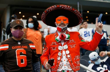 Oct 4, 2020; Arlington, Texas, USA; Cleveland Browns fans celebrate a wOct 4, 2020; Arlington, Texas, USA; Cleveland Browns fans celebrate a win against the Dallain against the Dallas Cowboys at AT&T Stadium. Mandatory Credit: Tim Heitman-USA TODAY Sports