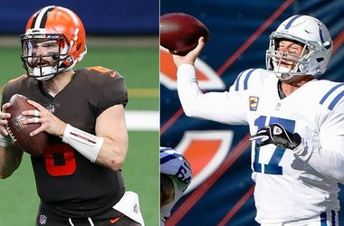 Baker Mayfield of the Cleveland Browns (left) and Philip Rivers of the Indianapolis Colts Coltsbrownsqbs