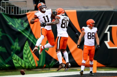 Cleveland Browns wide receiver Donovan Peoples-Jones (11), left, celebrates a go-ahead touchdown catch with Cleveland Browns wide receiver Jarvis Landry (80) during the fourth quarter of a Week 7 NFL football game against the Cincinnati Bengals, Sunday, O