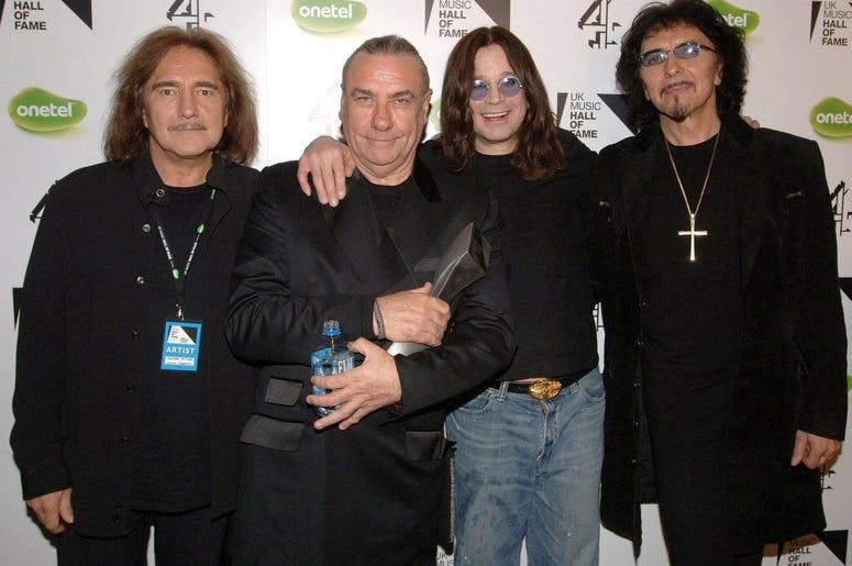 (left to right bassist Geezer Butler, drummer Bill Ward, singer Ozzy Osbourne and guitarist Tony Iommi