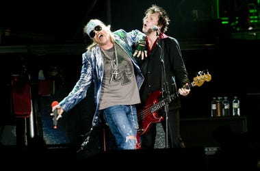 Axl Rose (left) and Tommy Stinson of Guns N' Roses,