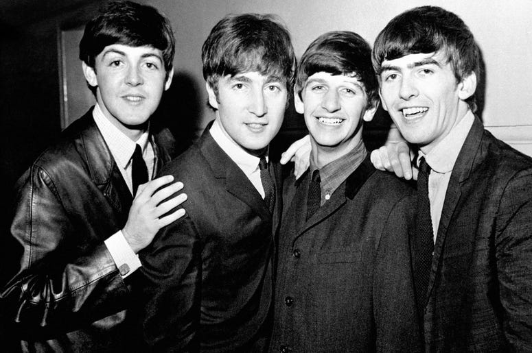 The Beatles pop group, left to right, Paul McCartney, John Lennon, Ringo Starr and George Harrison.