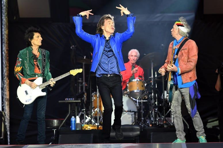 Ronnie Wood, Mick Jagger, Charlie Watts and Keith Richards of The Rolling Stones perform