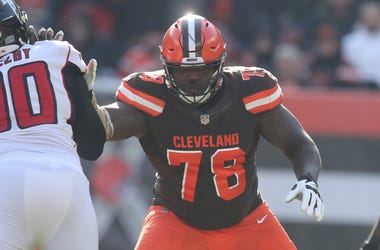 Cleveland Browns left tackle Greg Robinson blocks Atlanta Falcons' Derrick Shelby during the second quarter on Sunday, Nov. 11, 2018 at FirstEnergy Stadium in Cleveland, Ohio. The Browns won the game 28-16.