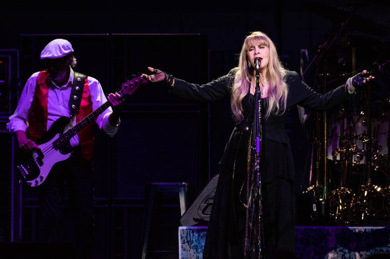 Stevie Nicks and John McVie of Fleetwood Mac perform onstage at The SAP Center on November 21, 2018 in San Jose, California