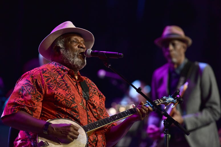Musician Taj Mahal (l) and Keb Mo perform during the 3rd Annual LOVE ROCKS NYC concert at the Beacon Theatre in New York, NY, March 7, 2019