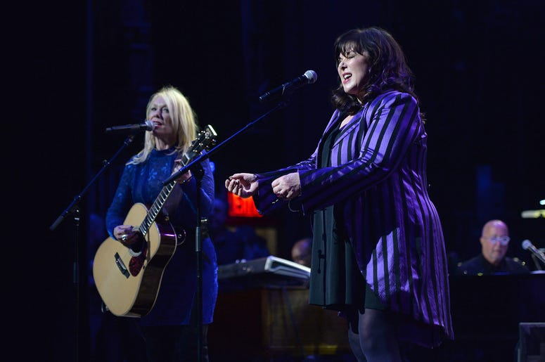 Musicians Nancy Wilson and Ann Wilson perform during the 3rd Annual LOVE ROCKS NYC concert at the Beacon Theatre in New York, NY, March 7, 2019.