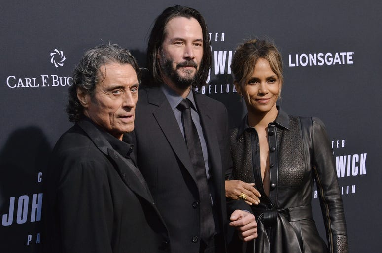 """(L-R) Ian McShane, Keanu Reeves and Halle Berry at Lionsgate's """"John Wick: Chapter 3 - Parabellum"""" Los Angeles Special Screening held at the TCL Chinese Theater in Hollywood, CA on Wednesday, May 15, 2019."""