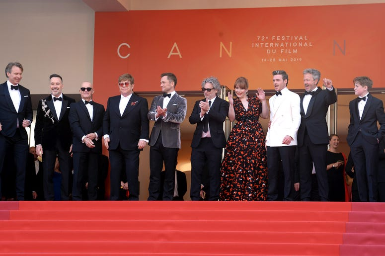 Giles Martin, David Furnish, Bernie Taupin, Elton John, Taron Egerton, director Dexter Fletcher, Bryce Dallas Howard, Richard Madden, producer Adam Bohling, and Kit Connor attending the Rocketman premiere, held at the Grand Theatre Lumiere during the 72nd