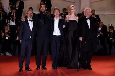 Mick Jagger, Giuseppe Capotondi, Donald Sutherland, Elizabeth Debicki, Claes Bang attending The Burnt Orange Heresy premiere at the 76th Venice Film Festival 2019 in Italy