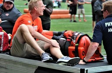 Browns defensive end Chad Thomas is carted off the field after suffering a neck injury on Aug. 12, 2019